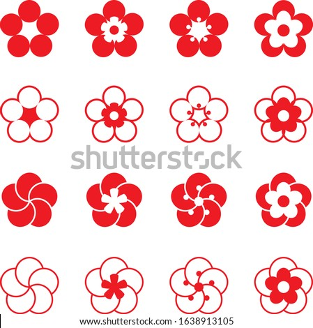 Plum blossom icon set vector Stock photo ©