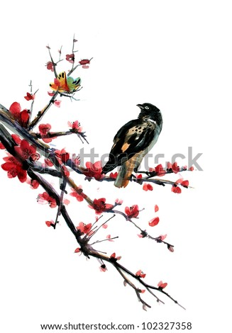 plum blossom with a sparrow