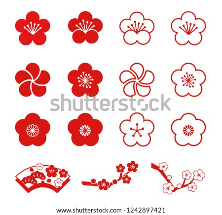 plum blossoms icon set
