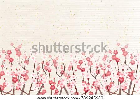 plum blossoms japanese paper