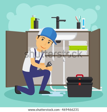 Plumber and plumbing service vector illustration. Water drain or sewage repair