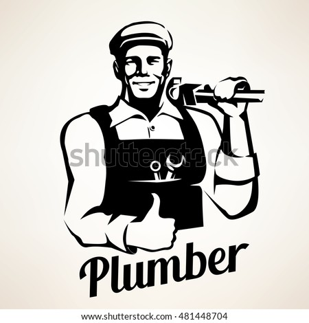 plumber and sanitary service portrait retro emblem, stylized vector symbol