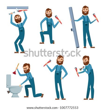 Plumber at work. Characters design set. Plumber work, character occupation builder and repairman. Vector illustration