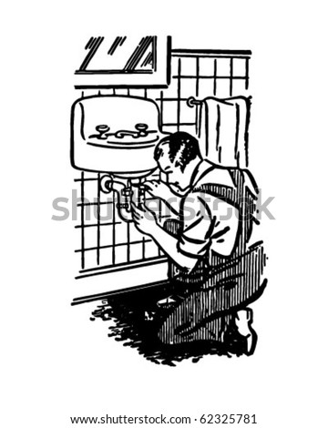 Plumber At Work - Retro Clipart Illustration