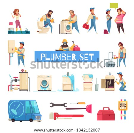 Plumber big cartoon set with burst pipes repair flooded home fixing sanitary washing machine installation vector illustration