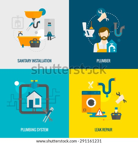 Plumber design concept set with sanitary installation leak repair flat icons isolated vector illustration