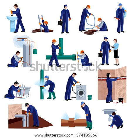 Plumber flat icons set with repair professional fixing water pipes isolated vector illustration