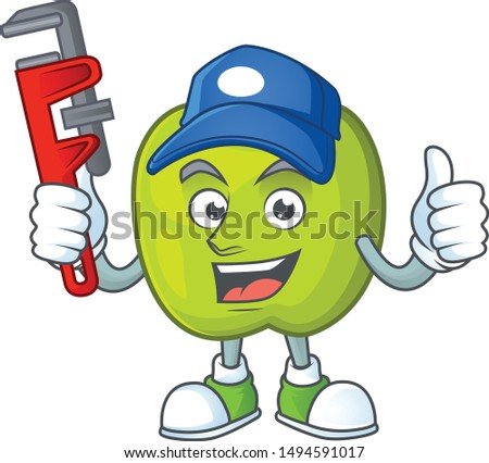 Plumber granny smith apple character for health mascot