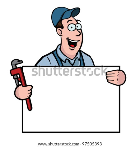 Plumber holding a sign and a wrench - stock vector