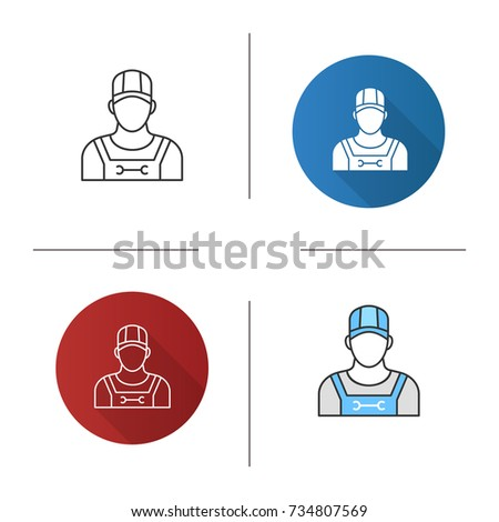 Plumber icon. Flat design, linear and color styles. Sanitary technician. Isolated vector illustrations