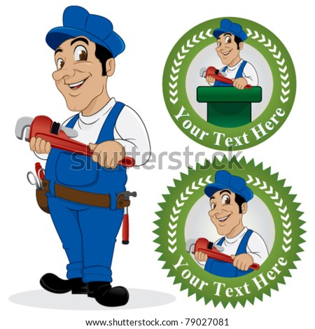 plumber in uniform with tools on a white background