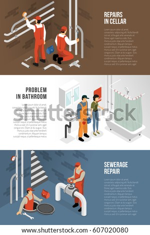 Plumber isometric horizontal banners set with sewerage repair bathroom and cellar interior images with text vector illustration