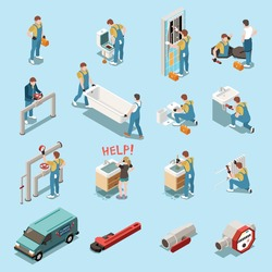 Plumber isometric icon set with isolated figures and elements equipment tools car and workers vector illustration
