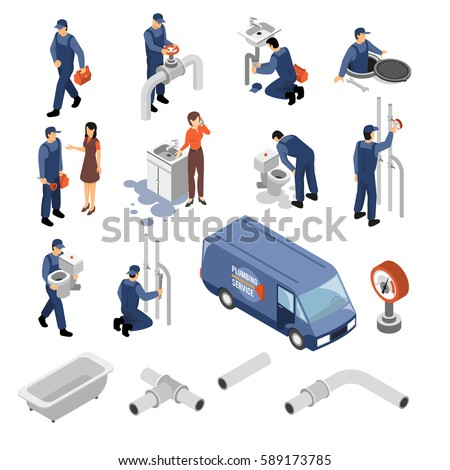 Plumber isometric icons set with tools and equipment symbols isolated vector illustration