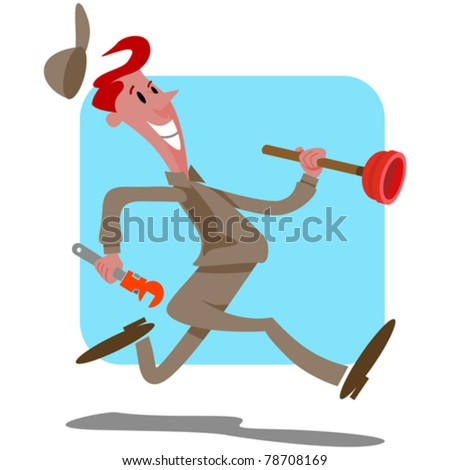 plumber running rushing with plunger and wrench