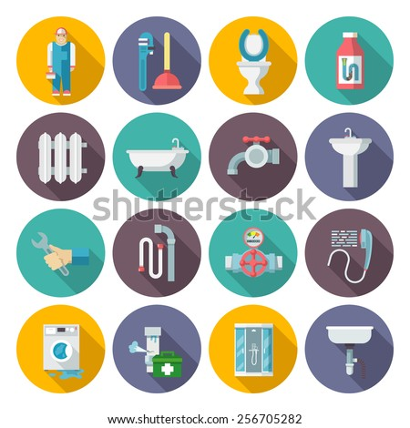 Plumber service tools kit flat pictograms set with heater system damage sections round abstract isolated vector illustration
