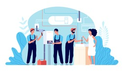 Plumber service. Work plumbers helping, instruments for fixing. Housework repairing, handyman and broken boiler heater vector illustration