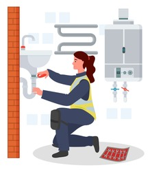 Plumber woman repairing adjusting fixing sink tube or pipe in bathroom, plumbing work, not female work, female in protective suit, lady engineer, technician works at home, housework, service concept
