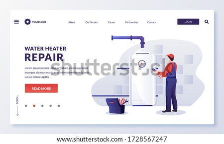 Plumber worker repairs or install water heater or boiler. Handyman makes house repair works. Vector flat cartoon character illustration. Home repair, maintenance and plumbing services concept Stock photo ©