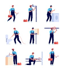 Plumbers. Fixing plumbing, house heating equipment repair and pipes. Water service installing and supply. Isolated handymans vector set