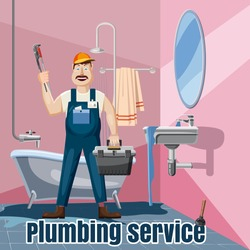 Plumbing fix bath washbasin service concept. Cartoon illustration of plumbing fix bath washbasin service vector concept for web