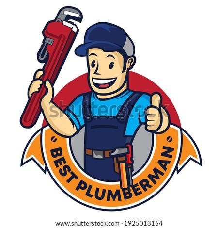 Plumbing man vector logo in retro style, perfect for Plumbing service company logo Foto stock ©