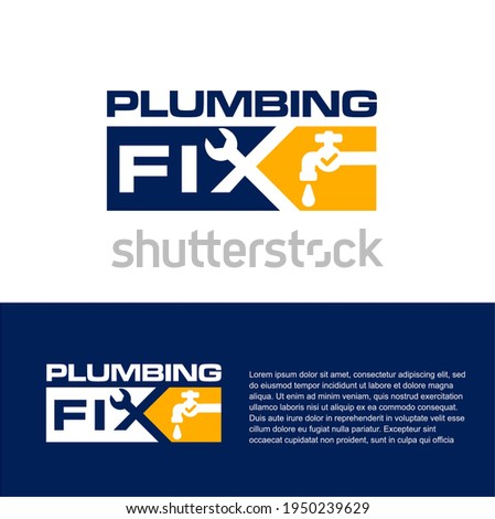 Plumbing Repair logo design. Plumbing  Fix vector. Plumbing company logo design template.  Foto stock ©