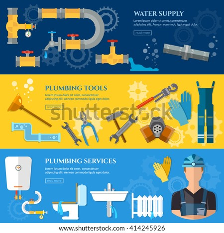 Plumbing repair service banner professional plumber different tools and accessories plumber repairing vector illustration