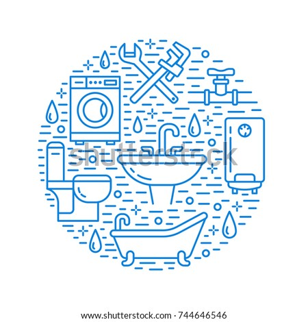 Plumbing service blue banner illustration. Vector line icon of house bathroom equipment, faucet, toilet, pipeline, washing machine, water boiler. Plumber repair circle template.