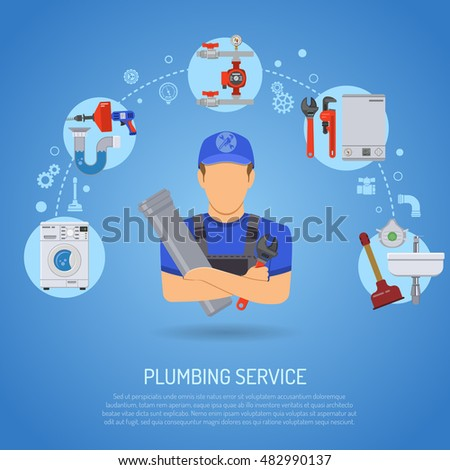 Plumbing Service Infographics Repair and Cleaning with Plumber, Tools and Device Flat Icons. Vector illustration.