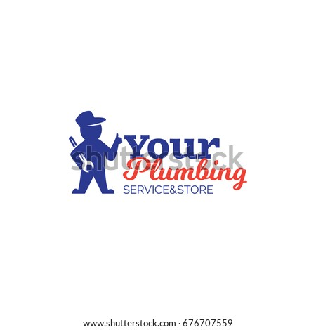 Plumbing service logo with repairman holding wrench and showing thumbs up. Vector plumber sign