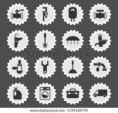 plumbing service web icons stylized postage stamp for user interface design