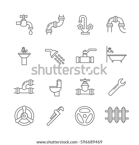 Plumbing, sewerage, pipe, faucet thin line vector icons set