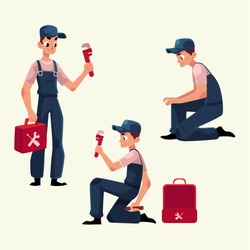Plumbing specialist at work, repairing sewage pipes, sink, washing machine, cartoon vector illustration. Plumber, plumbing specialist, repairman at work, fixing