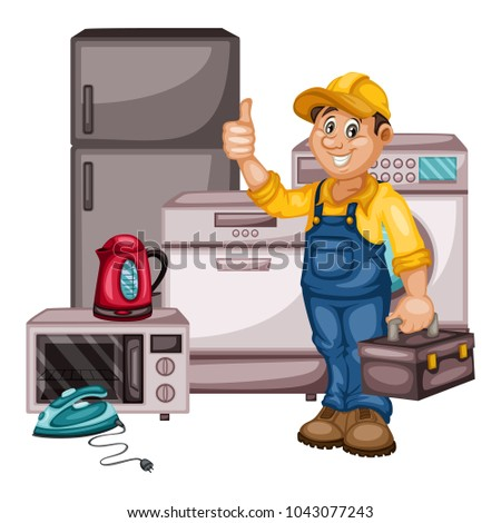 Plumbing Specialist with Toolbox Fixing, Repairing Washing Machine. Cartoon Vector Illustration Isolated on White background. Plumber, Plumbing Specialist Fixing, Repairing Washing Machine
