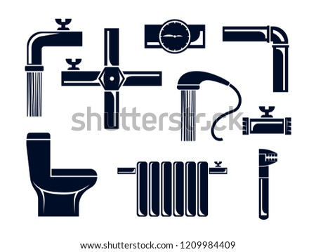 Plumbing vector icons set. Silhouettes isolated on white background