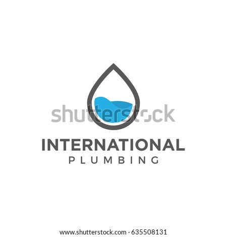 plumbing water logo icon vector template