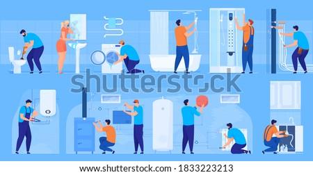 Plumbing work. Bathroom renovation, bath, toilet, washbasin, washing machine, pipes. Woman calls a plumber. Leaking washbasin. Repair of heating system, boiler, heating batteries. Repair of the sink