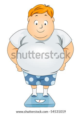 Plump Guy on Scale - Vector