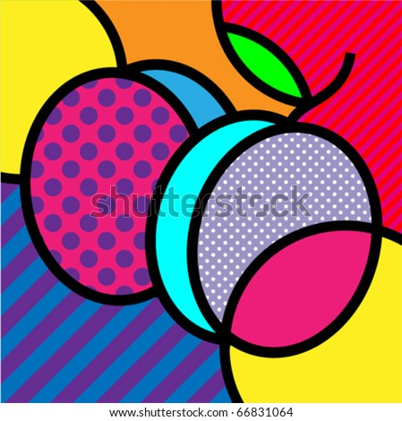 plums pop-art fruits vector illustration for design