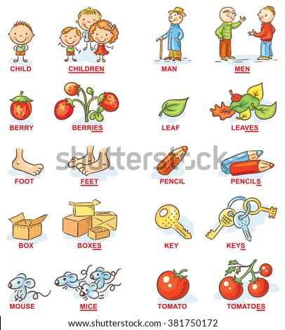 Plural of nouns in colorful cartoon pictures, can be used as a teaching aid for foreign language learning Сток-фото ©