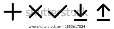 Plus and minus, Check,Download icon.Download icon symbol vector.Plus Icon Black.Set of plus, minus, check & cross flat icons. Vector black isolated arrows.Vector illustration