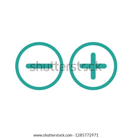 plus and minus circle flat vector icons isolated on white.  Add or plus purchase pictogram.  Good for web and mobile design. Stock foto ©