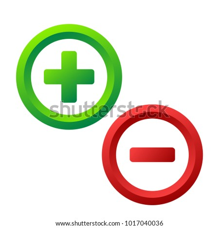 Plus and minus icon buttons on white, stock vector illustration