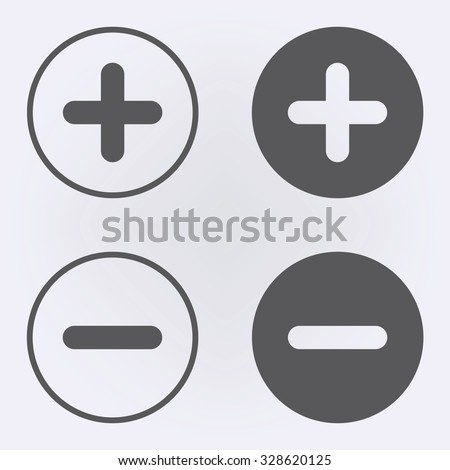 Plus and minus icon set in circle . Vector illustration