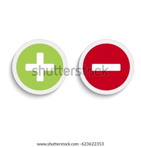 Plus and minus round icons with soft shadow on the white background. Vector illustration