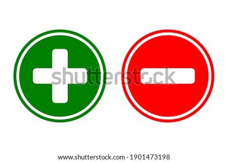Plus and minus sign icon. Green plus and red minus symbol. Stockfoto ©