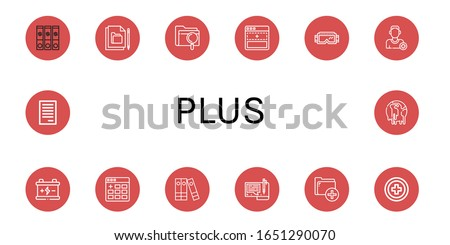 plus icon set. Collection of File, Add, Google, Add friend, Battery, Files, Red cross, Climate change icons