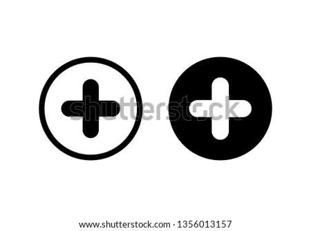 Plus Icon vector. Add icon. Addition sign. Medical Plus icon Photo stock ©