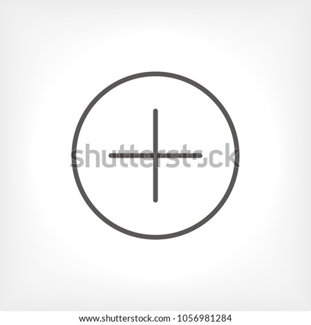Plus icon vector illustration. Linear symbol with thin outline. The thickness is edited. Minimalist style.